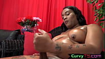 Hot ebony shemale oils up her curvy body