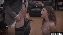 Teen gets double creampied by stepdad and boss