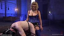 Stunning MILF femdom pegging slave