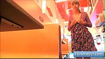 Young blonde teen amateur Alana shake her nice booty in a diner and finger herself deep and tender