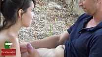 a young couple fucks in the forest under a three thumbnail