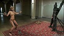 Blonde slave trained on huge cock