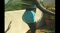 Very Hot Ebony is Crazy for Big White Cock
