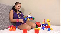 Pregnant Alyssa Fucks Herself with Children's Toys! thumbnail