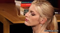 Spicy sex kitten gets jizz shot on her face swa...