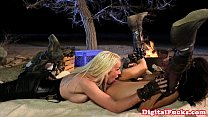 Stevie Shae licking some camp fire pussy thumbnail
