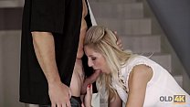 OLD4K. Winsome teen and old lover culminate day with awesome sex
