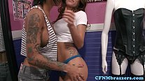 Girlswayvids.com: femdom inked squirter in threesome thumbnail