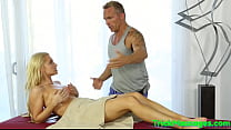 Tittyfucked babe gets plowed at kinky parlor