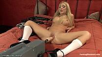 Busty blonde dp machine fucked in bed