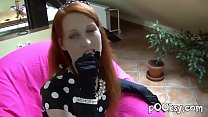 alex clark anal ~ cute french redhead spreads legs in blue stockings thumbnail