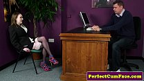 Office girl gives blowjob