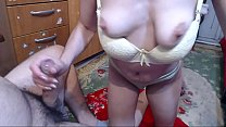 He takes advantage of his daughter and gives her a blowjob, fucks her tightly on the back and then finishes his mouth creampie. صورة