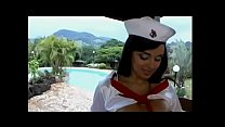 Young playful peacherino in sailor's uniform Julia Paes takes cum load on her big boobs after getting good old brown in the summerhouse