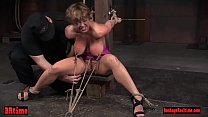 Crotch tied and toyed blonde babe moans