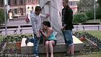 PUBLIC teens street sex GANGBANG  by a famous statue PART 3 porn image
