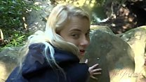 Blonde teen gets fucked and sucks cock in a forest (Riley Star)