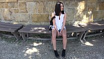 Beautiful amateur banged in bushies in public outdoors preview image