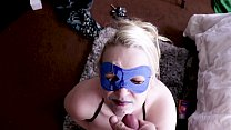Hot Busty Blonde in Blue Mask Sucks gets Facial