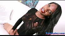 Big ass ghetto tranny wanks her hard dick on the bed