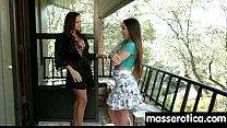 teen Eats MILF Pussy at Oily threesome 23