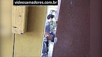 Voyeur films young couple fucking, until discovered by recording video
