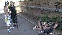Blonde slave rough banged in back alley