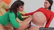 Pregnant brunette chicks with big boobs and distended bellies have lesbian sex