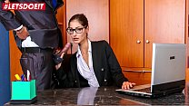 LETSDOEIT - Naughty Teen Secretary Coco Kiss Rides BBC At The Office