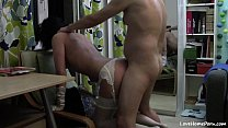 Slutty girl gets fucked all over the room