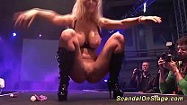 blonde big boob german milf toying on public stage thumbnail