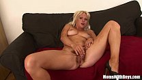 Image: Hairy Pussy Blonde MILF Kathy Anderson Couch Fucked
