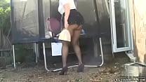 upskirt big ass woman in short skirt and pantyhose image