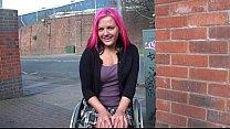 Wheelchair bound Leah Caprice in uk flashing an...
