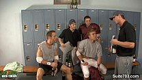 Threesome jocks in locker room