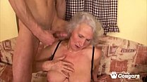 Granny Spreads Her Saggy Old Pussy For A Lucky Young Man
