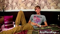 Irresistible young gay Connor Levi talking and stroking
