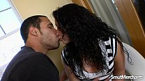 Juicy Brunette Babe Sasha Stowaway Pleases a Guy with Her Mouth and Pussy