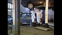 High class woman screwed by mechanics in garage
