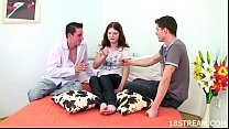 073Pretty teen fucked by two dudes