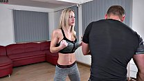 Strong Girl Dominated Muscle Man Victory Pose Humiliation