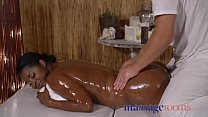 Massage Rooms British temptress slams her big black booty on a chunky cock