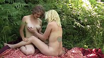 Yanks Lesbians Mira London & Ruby Wood Outdoors Play
