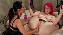 Brunette lesbian stretch ass to redhead