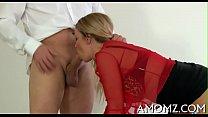 Cock fucks mature muff and tits
