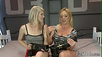 Blonde lesbians pussy fisting before toying thumbnail