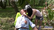 Outdoor Old Man Fucked Young Girl Virgin Pussy tight twat sex and cumshot