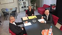 Carrer woman in high heels banged by colleagues in a business meeting