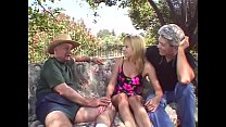 Outdoor Threesome For Blonde Swinger Wife
