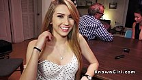 Blonde amateur teen banged in garage